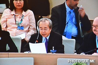 Vo Van Ai speaking at the UN Human Rights Council, 8 March 2013 - Photo QUE MELHQ ở Genève – Photo Quê Mẹ