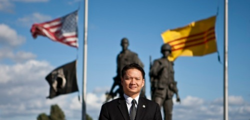 Tri Ta, the first Vietnamese American elected mayor of a U.S. city, in front of Vietnam War Memorial, Westminster, California, Nov. 9, 2012. Allen J. Schaben/Los Angeles Times